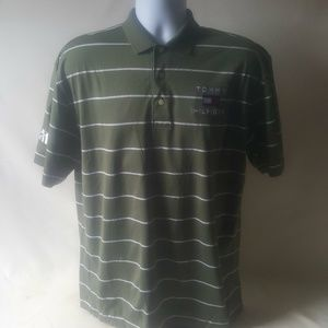 Tommy Hilfiger men's olive green stripe Polo